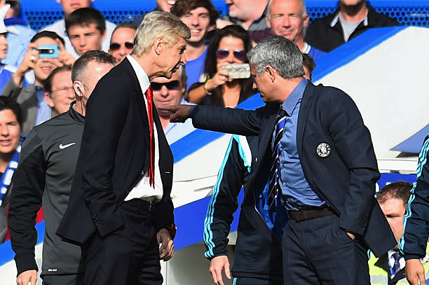 Arsene Wenger and Jose Mourinho in a wrangle
